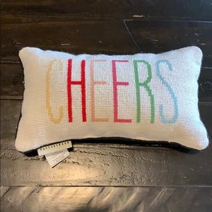 "Pottery Barn Small ""Cheers"" Pillow"